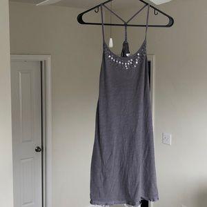 Gray Cotton Halter Dress with Neckline Beading